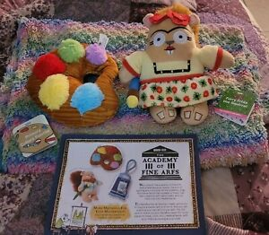 BarkBox S Dog Plush Toy Set: Furry Frida The Squirrel & Primary Collars Palette
