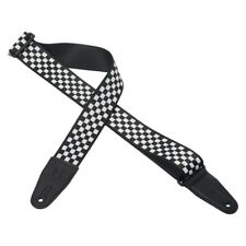 """LEVY'S 2"""" POLY GUITAR STRAP w/PRINTED CHEQUERED DESIGN & LEATHER ENDS - MP-28"""