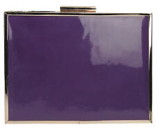 Women Kate Patent Leather Envelope Ladies Evening Party Prom Smar Box Clutch Bag