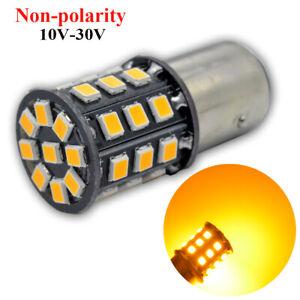 2pcs 10-30V Yellow 1157 33SMD 2835 LED Reverse Brake Turn Tail Back Up LED Light