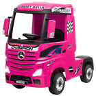 12V Mercedes Benz Actros Electric Kids Ride on Truck Trailer with Music Pink