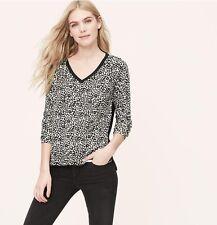 NWT Ann Taylor Loft Floral Spot Mixed Media Sweater XS Whisper White Black