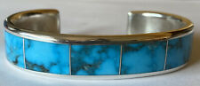 Signed Zuni Sterling Silver Morenci Turquoise Channel Inlay Cuff Bracelet