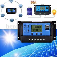 Mohoo 30A 12V/24V Dual USB LCD PWM Solar Panel Regulator Auto Charge Controller