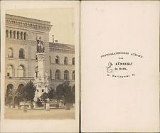 A.Kümmerly, Suisse, Fontaine de Berne Vintage CDV albumen carte de visite,