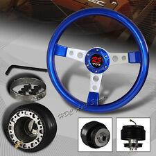 For 2001-2005 Honda Civic 350MM Blue Wood Silver Spoke Steering Wheel + Adapter