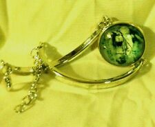 Lovely ARABIAN HORSE Glass Dome HORSE BRACELET Rhodium Plated Green GIFT!!