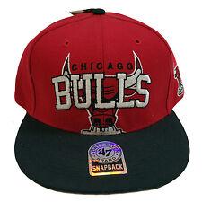 CHICAGO BULLS FORTY SEVEN BRAND RED/BLACK SNAPBACK CAP