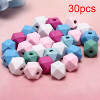 30x/Set Wood Colorful Cone Geometric Loose Spacer Beads DIY Making Jewelry YK