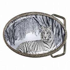 Exotic Silver Toned Rhinestones Tiger Green Eyes Belt Buckle Buckles