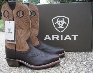 NEW Mens ARIAT Brown Leather Heritage Roughstock Soft Toe Western Boots 10031515