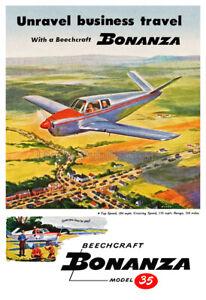 1947 Beechcraft Bonanza Model 35 Advertising Poster