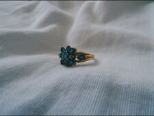 9ct Gold Ring With Blue Topaz And Diamond Stones