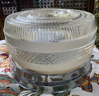 VTG Round Clear Frosted Glass Ceiling Light Fixture Art Deco FarmDecor Out/ In
