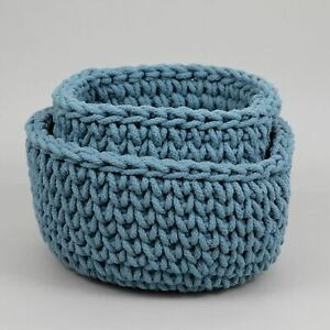 LIGHT & LIVING ABARI Woven Display Baskets in BLUE (Set of 2)