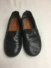 Joe Boxer Girls Size 1 Flats Casual Shoes Black Sparkly School Slip On