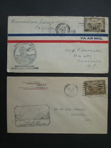 CANADA 2 airmail stamps covers first flight TORONTO 1925 GRINDSTONE 1933 to US