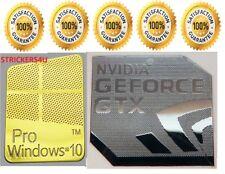 1 x Pr0 Window 10 Gold Logo Sticker Decals & Free Nvidia Geforce GTX Silver.
