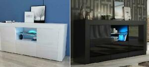 Modern High Gloss 3 Doors TV Unit Cabinet Sideboard Storage Cupboard LED​ Lights
