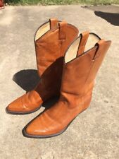 Women Cowgirl Leather Boots Tan Size 7M