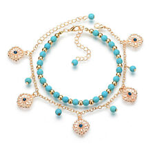 Foot Chain Bracelet Beach Anklet Jewelry Boho Hollow Out Daisy Turquoise Beads