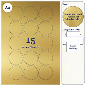 Sticky Metallic Gold Round Matt Paper Labels 51mm 20 A4 Sheets for Laser Printer