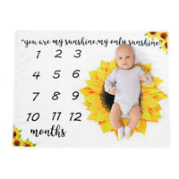 KQ_ HB- Sunflower Soft Baby Monthly Milestone Blanket Swaddling Wrap Photo Prop