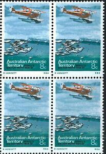 1973 Australian MUH AAT Stamps Block 4x8c Antarctic Aviation First Flight issues