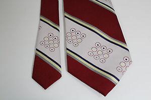 Men's Neck Tie Red White Stripes & Circles 1960s Fat Tie