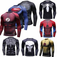 Men Marvel Superhero T Shirts Compression Spandex Workout Slim Fit Cosplay Tees