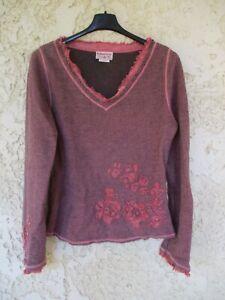 Pull col en V MARLBORO CLASSICS femme coton acrylique laine taille L
