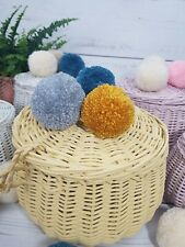 Large Basket handmade of wicker - box with lid - mustard color with pompoms