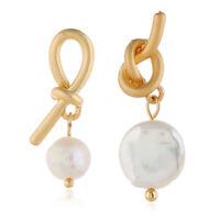 Irregular Metal Knot Asymmetrical Pearl Earrings Women Ear Stud Dangle Jewelry