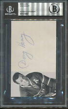 Doug Harvey Signed Index Card Beckett Authentic Autograph *0807