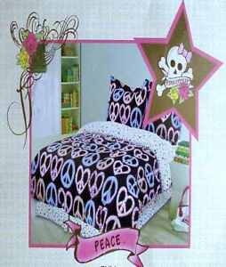 PINK COOKIE PEACE FULL COMFORTER SHEETS SHAMS BEDSKIRT 8PC BEDDING SET NEW