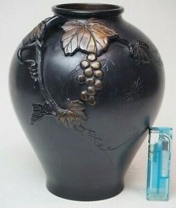 Grape Plant Bronze Vase Japanese Antique Ikebana Takaoka Doki Old Meiji Japan