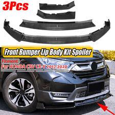 Carbon Black Front Bumper Lip Splitter Spoiler Trim For Honda CR-V CRV 2017-2020