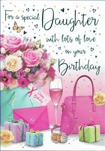 """DAUGHTER BIRTHDAY TRADITIONAL GREETING CARD 9"""" BY 6"""" - REGAL NICE VERSE FREE P+P"""