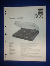 Dual 506 Turntable Service Manual Factory Original The Real Thing