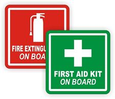 "4"" Fire Extinguisher / FIrst Aid Kit On Board Vinyl Decals / Stickers / Labels"