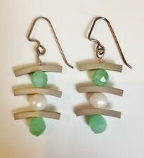 Sterling Silver Onyx Pearl Earrings Asian Handmade Green White Unique Pierced