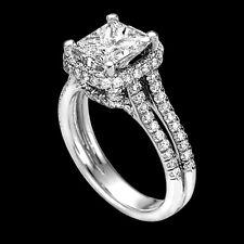 2 Carat Enhanced Princess Diamond Engagement Ring H/SI 18K White Gold