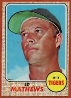 1968 Topps #58 Eddie Mathews Near Mint Detroit Tigers Free Shipping