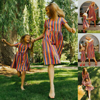 Mommy and Me Family Matching Dress Mother Daughter Stripe Holiday Maxi Dress