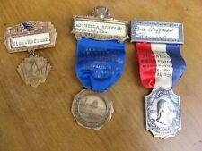 3 American Racing Pigeon Union Pin Badges W/ Ribbon Buffalo Chicago Washington