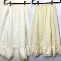 Lot of 2 Miss Joni Half Slip Skirt White/ Cream Size Medium USA Petticoat