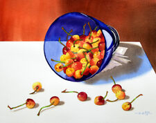 Red Cherry 3, Fruit, Blue Bowl, Original Watercolor Painting, Signed, Art