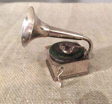 Antique Dutch H. Hartman Sterling Silver Figural Gramophone Miniature
