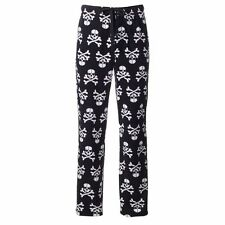 Mens XL skulls pajamas pants bottoms fleece new croft barrow black crossbone