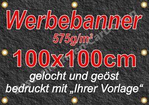 Werbebanner, Werbeplane, Plane 575g/m² 100x100cm gelocht und geöst